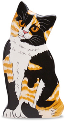 "Sunshine - Calico by Rescue Me Now - 8.5"" Small Cat Vase"