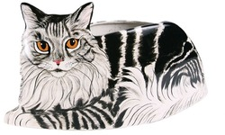 "Dreamer - Gray Tabby by Rescue Me Now - 6.5""x12.5"" Cat Planter Vase"