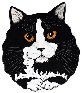"Clark - Tuxedo by Rescue Me Now - 10.75"" Cat Plate"