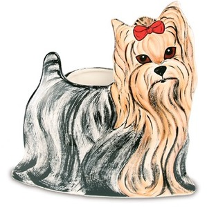 "Sherri Kay - Yorkshire by Rescue Me Now - 9"" x 9"" Dog Planter Vase"