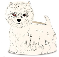"Dee Oh Gie - West Highland by Rescue Me Now - 9.25"" x 9"" Dog Planter Vase"