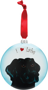 "Shadow - Black Lab by Rescue Me Now - 5"" Glass Christmas Ornament"