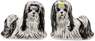 "Monroe & Bobo-Shih Tzu by Rescue Me Now - 3.25"" Dog S & P Shaker Set"