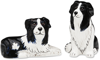 "Bobbie & Scooter-Bor Collie by Rescue Me Now - 3.25"" Dog S & P Shaker Set"