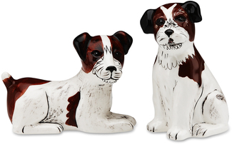 "Chloe & Bob- Jack Russell by Rescue Me Now - 3.25"" Dog S & P Shaker Set"