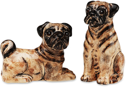 "Pugsley & Buddy-Pug by Rescue Me Now - 3.25"" Dog S & P Shaker Set"