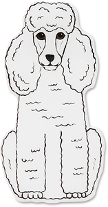 "Triximae - White Poodle by Rescue Me Now - 3""x 1.75"" Magnet"