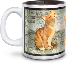 "Orange Tabby Cat by My Pedigree Pals - 4"" - 12oz. Mug"