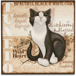 "Black & White Tuxedo Cat by My Pedigree Pals - 8"" Freestanding Wall Art"