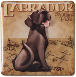 "Black Lab by My Pedigree Pals - 2.5"" Square Magnet with Easel Back"