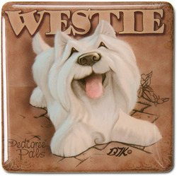 "West Highland Terrier by My Pedigree Pals - 2.5"" Square Magnet with Easel Back"