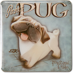 "Pug by My Pedigree Pals - 2.5"" Square Magnet with Easel Back"