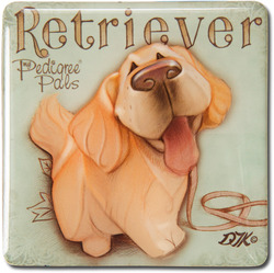 "Golden Retriever by My Pedigree Pals - 2.5"" Square Magnet with Easel Back"