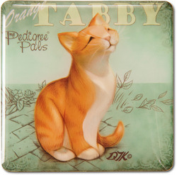 "Orange Tabby by My Pedigree Pals - 2.5"" Square Magnet with Easel Back"
