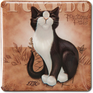 "Black & White Tuxedo by My Pedigree Pals - 2.5"" Square Magnet with Easel Back"