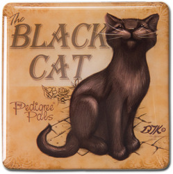 "Black Cat by My Pedigree Pals - 2.5"" Square Magnet with Easel Back"
