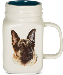German Shepherd by Waggy Dogz - 21 oz Mason Jar Ceramic Dog Mug