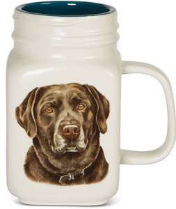 Chocolate Lab by Waggy Dogz - 21 oz Mason Jar Ceramic Dog Mug