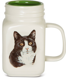 Black and White Cat by Waggy Dogz - 21 oz Mug