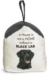 "Black Lab by Waggy Dogz - 5"" x 6"" Door Stopper with Charcoal Gray Roof"