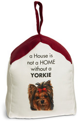"Yorkshire Terrier by Waggy Dogz - 5"" x 6"" Door Stopper with Dark Red Roof"