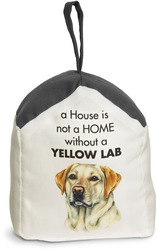 "Yellow Lab by Waggy Dogz - 5"" x 6"" Door Stopper with Charcoal Gray Roof"