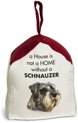 "Schnauzer by Waggy Dogz - 5"" x 6"" Door Stopper with Dark Red Roof"