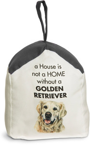 "Golden Retriever by Waggy Dogz - 5"" x 6"" Door Stopper with Charcoal Gray Roof"