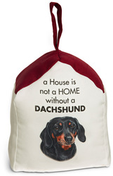 "Dachshund by Waggy Dogz - 5"" x 6"" Door Stopper with Dark Red Roof"