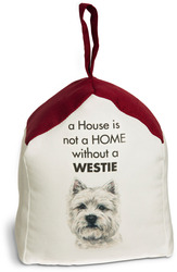 "West Highland Terrier by Waggy Dogz - 5"" x 6"" Door Stopper with Dark Red Roof"