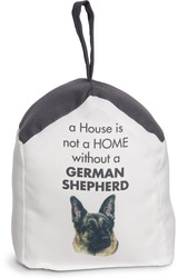 "German Shepherd by Waggy Dogz - 5"" x 6"" Door Stopper with Charcoal Gray Roof"