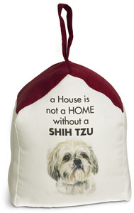 "Shih Tzu by Waggy Dogz - 5"" x 6"" Door Stopper with Dark Red Roof"