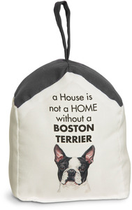 "Boston Terrier by Waggy Dogz - 5"" x 6"" Door Stopper with Charcoal Gray Roof"
