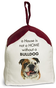 "Bulldog by Waggy Dogz - 5"" x 6"" Door Stopper with Dark Red Roof"