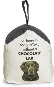 "Chocolate Lab by Waggy Dogz - 5"" x 6"" Door Stopper with Charcoal Gray Roof"
