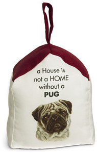"Pug by Waggy Dogz - 5"" x 6"" Door Stopper with Dark Red Roof"