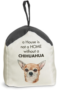 "Chihuahua by Waggy Dogz - 5"" x 6"" Door Stopper with Charcoal Gray Roof"