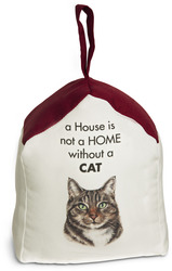 "Tabby Cat by Waggy Dogz - 5"" x 6"" Door Stopper with Dark Red Roof"