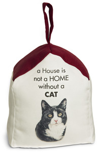"Black and White Cat by Waggy Dogz - 5"" x 6"" Door Stopper with Dark Red Roof"