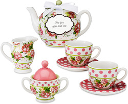 Tea Time by You & Me by Jessie Steele - Cottage Rose 7pc Mini Tea Set