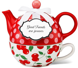 "Friendship by You & Me by Jessie Steele - 6"" I Love Cherries Tea for One"