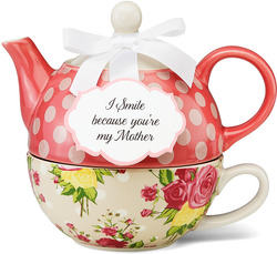 "Mother by You & Me by Jessie Steele - 6"" Autumn Rose Floral Tea for One"