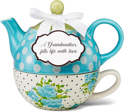 "Grandmother by You & Me by Jessie Steele - 6"" Aqua Spring Rose Bunch Tea for One"