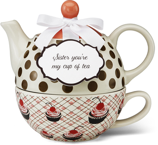 "Sister by You & Me by Jessie Steele - 6"" Cherry Cupcake Tea for One"
