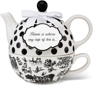 "Home by You & Me by Jessie Steele - 6"" Cafe Toile Tea for One"