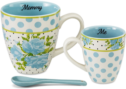 Mommy & Me (Aqua) by You & Me by Jessie Steele - Aqua Spring Rose Bunch 3pc Mug Set