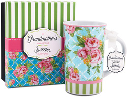 Grandmother by You & Me by Jessie Steele - Blue Cottage Rose 12oz Mug