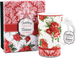 Teacher by You & Me by Jessie Steele - Red Cottage Rose 12oz Mug