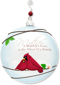 "Mother by Peace Love & Birds - 5"" Dia. Glass Ornament"