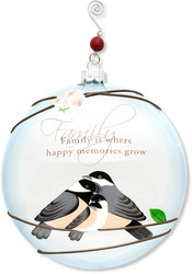 "Family by Peace Love & Birds - 5"" Dia. Glass Ornament"